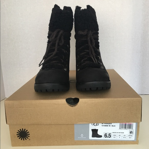 a46938ee6fc4 New UGG Women Fraser Leather Boots. Black Sz 6.5 .